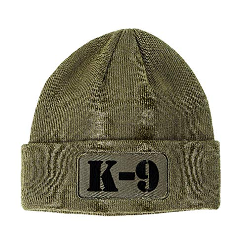 Patch Beanie K-9 Black Embroidery Acrylic Skull Cap Hats for Men & Women Olive Green Design Only