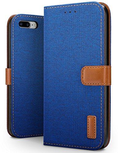 SLEO Hoesje voor iPhone 8 Plus/iPhone 7 Plus Hoes, Canvas Portemonnee Draagtas, Stoer Katoen Materiaal Beschermende Cover met Magnetische Sluiting voor iPhone 8 Plus / 7 Plus - Blauw