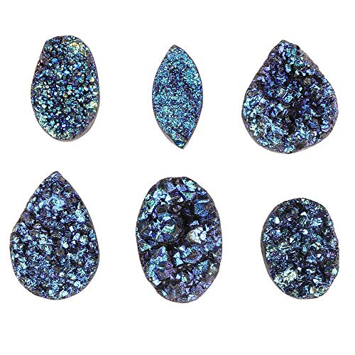 GEMHUB Druzy Stone Blue Color 120 Carat Lot of 6 Pcs Mix Shape Beautiful Loose Gemstone for Jewelry Making ASP-040