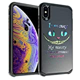 iPhone XR Case, IMAGITOUCH 2-Piece Style Armor Case with Flexible Shock Absorption Case & Cheshire Cat Quotes Design Cover Hybrid for iPhone XR-Alice in Wonderland Cheshire Cat Quotes Hybrid