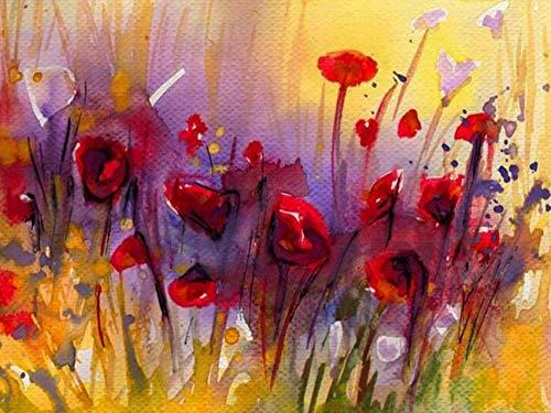 Pintura al óleo por números amapola DIY regalo pintado a mano pintura acrílica para colorear por números decoración de flores para el hogar A5 40x50cm