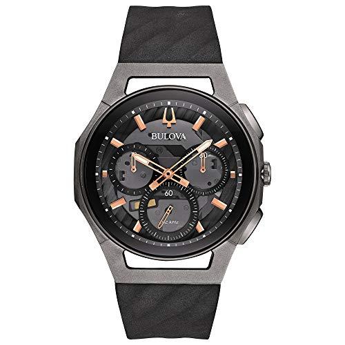 Cronografo cinturino in gomma nera con fibbia di chiusura ad ardiglione cassa in titanio ed acciaio