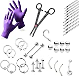 Kit piercing professionnel 37pièces–Bijoux pour lèvres, tétons, nombril, sourcils, langue, oreilles–Aiguilles, gants et outils inclus