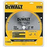DEWALT 12-Inch Miter Saw Blade, ATB, Thin Kerf, Crosscutting, 1-Inch Arbor, 80-Tooth (DW3128) , Yellow