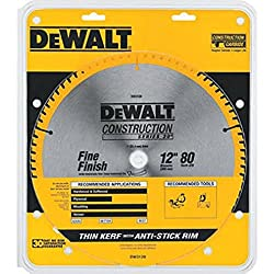 "cheap DEWALT 12 ″ Miter Saw Blade, ATB, Thin Kerf, Cross Section, 1 ""Arbor, 80 Tooth (DW3128)"