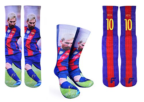 Forever Fanatics Barcelona Messi #10 Soccer Crew Socks ✓ Lionel Messi Autographed ✓ One Size Fits 6-13 ✓ Made in USA ✓ Ultimate Soccer Fan Gift (Size 6-13, Messi #10)