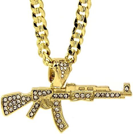 Jewel Town Mens 14k Gold Plated Iced Cz Hip Hop AK 47 Gun Pendant 24 Cuban Chain Necklace D741 product image