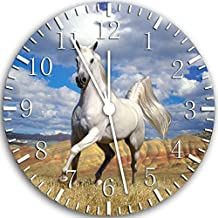 Borderless Beautiful White Horse Frameless Wall Clock W47 Nice for Decor Or Gifts