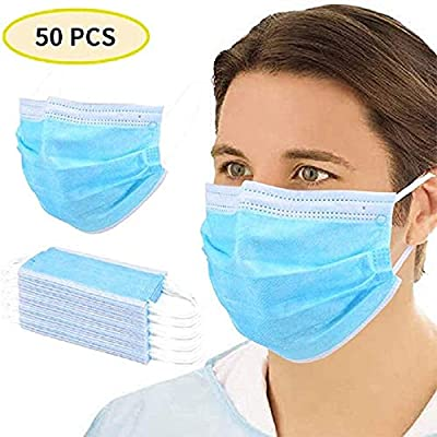 damdos 3-Ply Non Woven Face Disposable Protective Mmas KED Durable Earloops High Barrier Blue Light and Soft (Pack of 50 PCS)