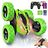 Remote Control Car, Fixget 2.4GHz Electric Race Stunt Car,4WD Double Sided 360° Rotating RC Cars with LED Headlights, High Speed Off Road Truck for 3+Year Old Kids Birthday Xmas Gift(Battery Included)