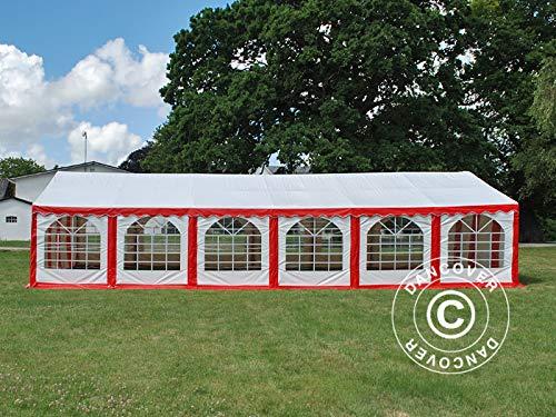 Dancover Partyzelt Pavillon Festzelt Exclusive 6x12m PVC, Rot/Weiß