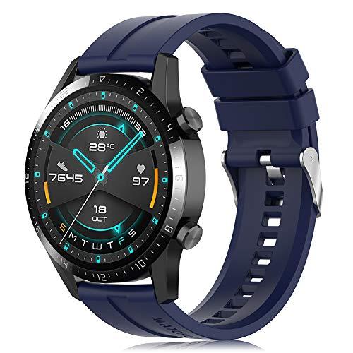 Find-MyWay Conpatible para Huawei Watch GT 2 (46mm)/Watch GT/Watch GT 2e/Watch GT2 Pro Correa para Mujer Hombre,22mm Silicona Deportiva Pulsera de Repuesto Banda Accesorios, Azul