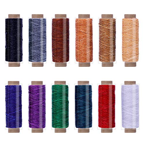 BUTUZE 660 Yards Leather Sewing Waxed Thread - 150D 55Yards Per Spool Stitching Thread for Leather Craft DIY,Bookbinding,Shoe Repairing,Leather Sewing