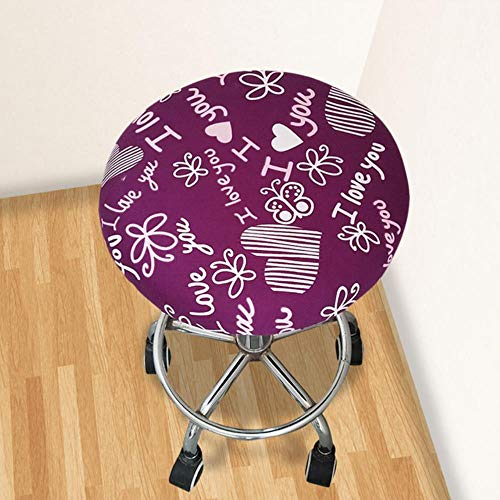 XCVB Ronde stoel stoelhoes Thuis stoel Hoes ronde stoel barkruk Bloemen bedrukte hoes Barkruk hoes Elastisch, paars