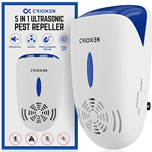 Crioxen Ultrasonic Pest Repeller Plug in - Electronic Portable Pet Safe - 5 in 1 Electromagnetic Waves Ultrasound Control - Repellent for Mice Rats Mosquitos Spiders Rodents Insects – Indoor