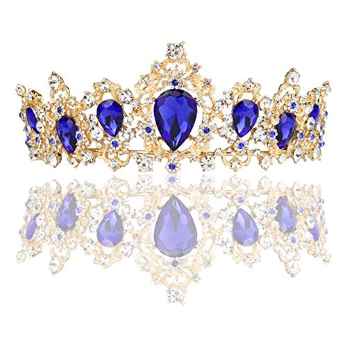 FeMo Baroque Vintage Rhinestone Crystal Crown - Tiaras and Crown for Women - Princess Rhinestone Crown for Halloween/Christmas/Thanksgiving/New Year (Blue sapphire crown)