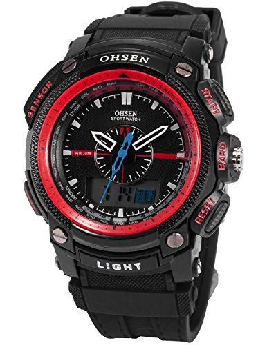 OHSEN LCD Dual Core Herren Damen Sport Datum Tag Rot Stoppuhr Schwarz Gummi Uhr OHS051