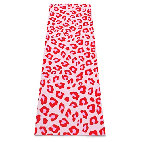 Esterilla de yoga de gimnasia con estampado de leopardo rojo y rosa con correa de transporte, antideslizante, ideal para principiantes, yoga, fitness, pilates y gimnasia, 180 x 61 x 0,45 cm