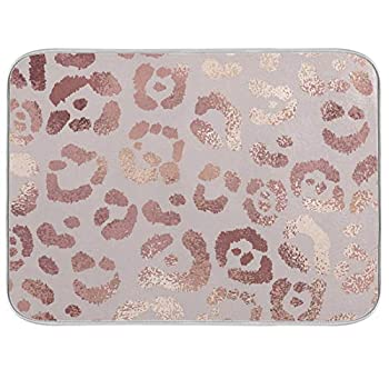 OREZI Absorbent Dish Drying Mat for Kitchen Counter with Hanging Loop,Rose Golden Leopard Cheetah Print Pink Drying Mat for Countertops Sinks Refrigerator Dishwashing Area,18 x 24 Inches