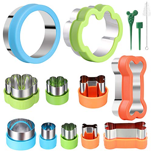 Dog Bone Cookie Cutter set - 4 Dog Bone 4 Footprint 3 Round Biscuit Cutters Sandwiches Cutter Set Different Sizes Mini Small Medium Big