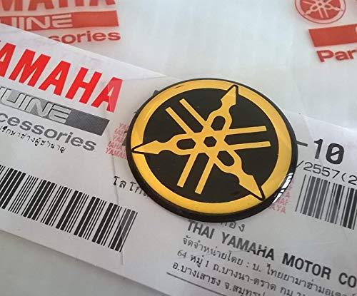 Yamaha Aufkleber 100% Original Yamaha-Stimmgabel 25mm Durchmesser Emblem Logo Gold/Schwarz erhöht Kuppelförmig Gel Selbstklebend Motorrad/Jet Ski/ATV/Schneemobil