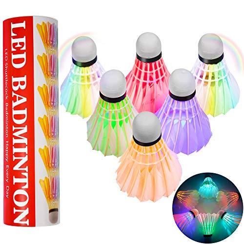 Odosalii LED Badminton 6 Stücke Federbälle Lighting Shuttlecock Bunt Beleuchtung Bälle Federball Beleuchtung Birdies Sport Zubehör (6 Stücke)