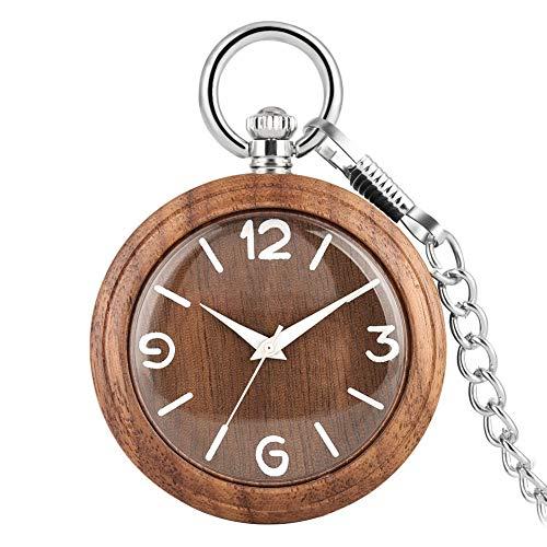 Joielavie Taschenuhr aus Holz, klassisch, einfache arabische Zahlen, Quarz, Kette, Legierung, Taschenuhr ohne Deckel für Herren und Damen