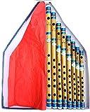 Set professionale di 8 flute indiani in bambù trasversali da G a A Bansuri blu scuro