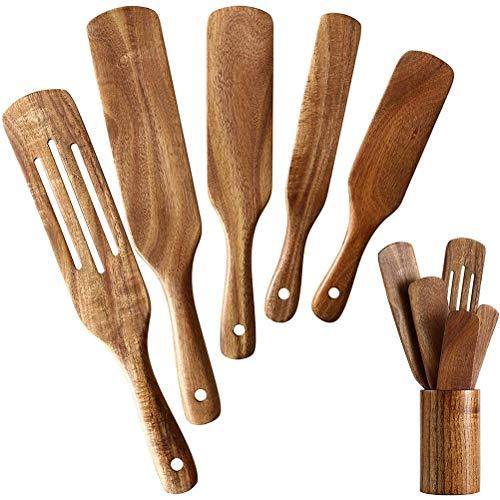 BST&BAO Juego de Utensilios de Cocina, Utensilios de Cocina de Teca Natural con Cuchara de Cocina Antiadherente Resistente al Calor y espátula de Madera, etc.