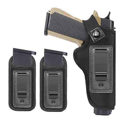Anjilu 1911 IWB Gun Holster,Concealed Carry Neoprene Holster | Fits Most 1911 Style Handguns | Kimber | Colt | S & W | Sig Sauer |Remington | Ruger & More | with Extra Mag Pouch