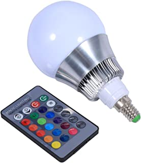E14 10W RGB LED Color Changing Light Bulb 85-265V IR Remote Control for Custom Timing Setting Home Decoration