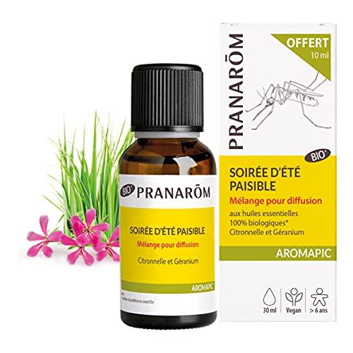 Pranarôm Aromapic Soirée d'Été Paisible Mélange Anti-Moustiques pour Diffuseur Atmosphérique aux Huiles Essentielles Bio, 20 ml + 10 ml
