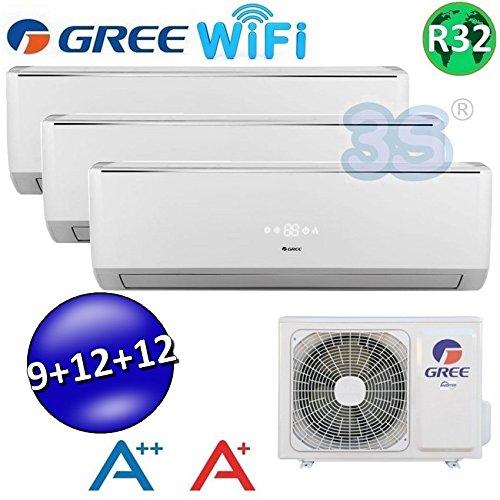 Climatizzatore Inverter Trial Split LOMO Wi-Fi 9000 + 12000 + 12000 Btu GREE R32 Classe A++/A+