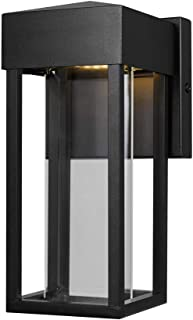 Globe Electric Bowie LED Integrated Outdoor Indoor Wall Sconce, Matte Black, Clear Glass Insert, 10W, 420 Lumens 44246, 9.88