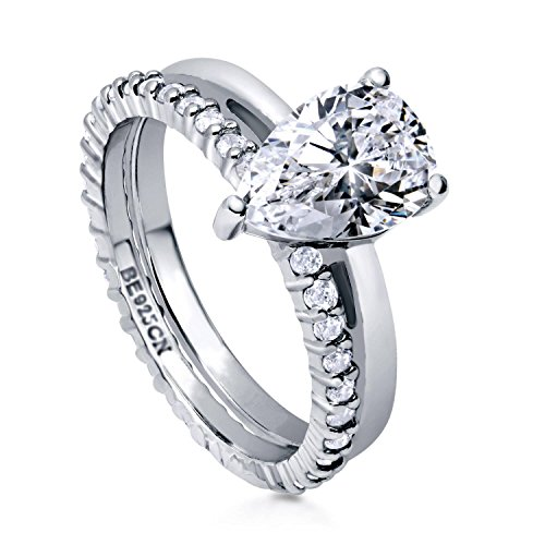 BERRICLE Rhodium Plated Sterling Silver Pear Cut Cubic Zirconia CZ Solitaire Engagement Wedding Ring Set 2.36 CTW Size 7