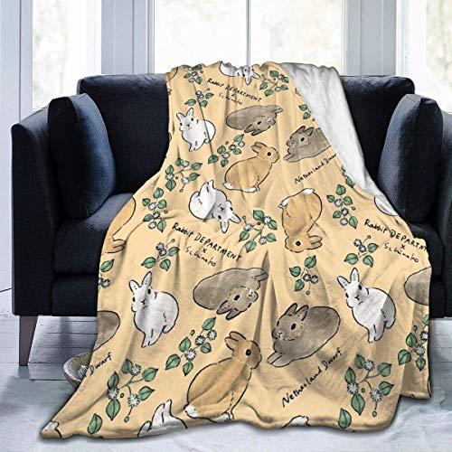 Manta retro de conejos, color gris, marrón, súper suave, acogedora, cálida, ligera, mullida, suave y cálida, de forro polar coral para cama o sofá