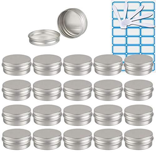 TIANZD 100 Piezas Bote de Aluminio con Tapa Rosca - 15ml, Plata Tarros de Aluminio Vacíos, Cosmetica cremas, Almacenar Pequeñas Cosas, Velas - 4X Etiqueta y 10x Mini Espátula