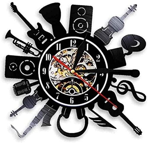 WYDSFWL Reloj de Pared Reloj de Pared de Vinilo Grabar Guitarra eléctrica...