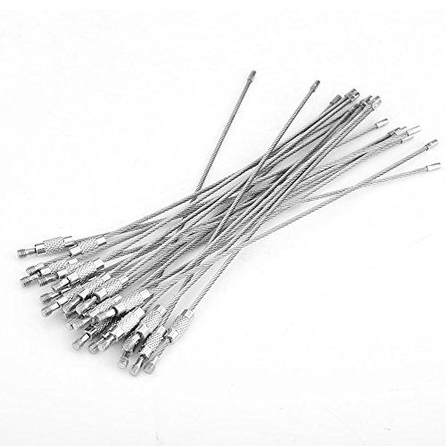 Llavero de cable, 20 piezas/bolsa de alambre de acero inoxidable llaveros etiqueta...