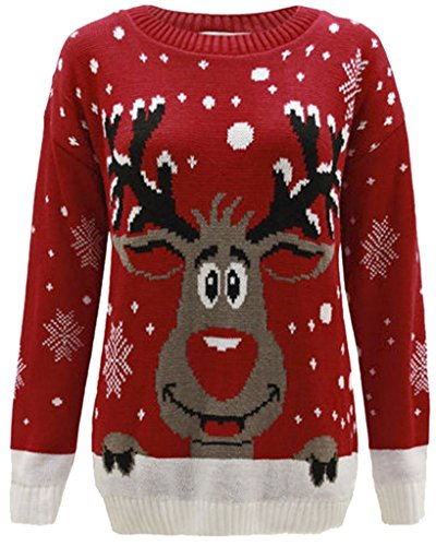 NUOVO bambini Unisex Maglione Natale per bambini ragazzi ragazze Top a maglia inverno maglioni Novità renna Rudolph ETÀ 3-12 - Rosso RENNA, 9-10 anni