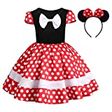 Kids Baby Girl Polka Dots Princess Costume Birthday Cake Smash Outfits Fancy Dresses up Pageant Party Cosplay Mouse Ears Halloween Christmas Formal Dance Clothing Set Red+White Bow-2pc 18-24 Months