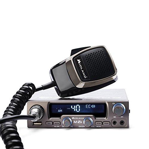 Midland M-20 CB-Funkgerät mit 6-pol. Mikrofon, inkl. Anschlußbuchse für kabelgebundene u. Bluetooth Headsets/Lautsprecher,USB-Ladebuchse, 4 Watt AM/FM
