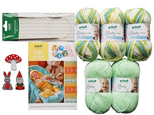 5X 50 Gramm Gründl Baby Uni/Color Wolle SB Pack inkl. Strick-Anleitung für EIN Kapuzenjäckchen, eine Hose & Fäustlinge, Rundstricknadel und 1 Bügelflickmotiv (04 Grün Mix)