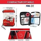 TRSCIND Erste-Hilfe-Set, Survival Kit mit Taschenlampe Feuerstahl und Rettungsdecke 130-teilig - 2