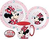 Minnie Maus Kinder-Geschirr Set mit Teller, Müslischale und Trinkbecher