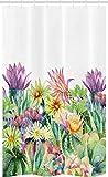 ABAKUHAUS Acuarela Cortina para baño, Flores y Plantas suculentas, Tela con Estampa Digital Apta Lavadora Incluye Ganchos, 120 x 180 cm, Multicolor