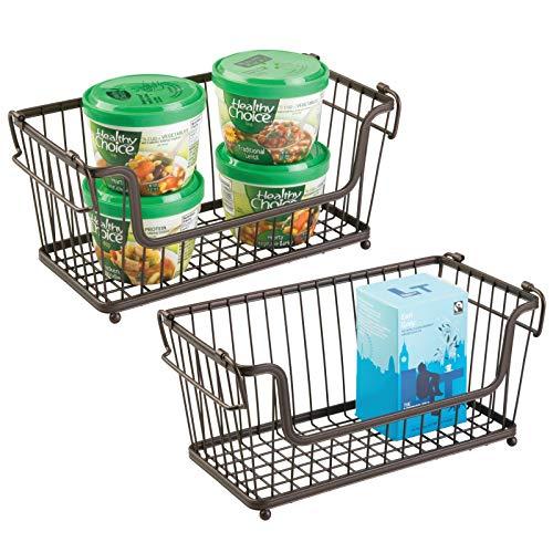 mDesign Cesta almacenaje apilable con Apertura Frontal y Asas - Organizador Cocina de Acero de - Uso Universal en la Cocina,...