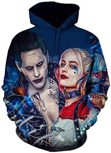 Unisex Hoodies 3D Druck Sweatshirt Langarm Pullover Halloween Kostüm Pullover Harley Quinn Zipper Jacke Gr. XL, C 08