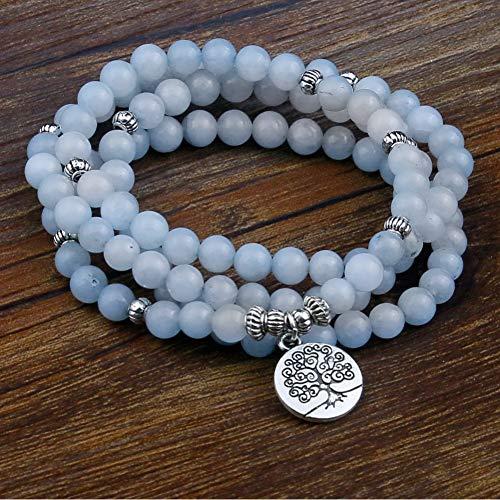 WOVP Pulsera Pulseras De Cuentas De Piedra Azul para Las Mujeres 108 Buda Pulsera Joyería con Lotus Colgante Vintage Yogi Multicapa Joyería De Los Hombres