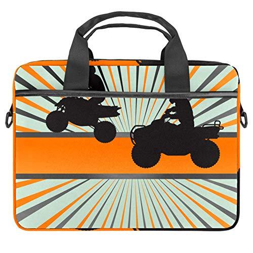 Laptop-Tasche für Quad Bike, Silhouette, Leinen-Muster, Aktentasche, Laptop, Schultertasche, Messenger-Tasche für 13,4-14,5 Zoll Apple MacBook Laptop Aktentasche